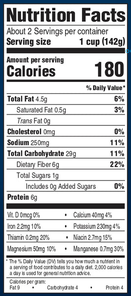 Nutrition Information: for 1 cup: 180 calories, 4.5 g fat, 250 g sodium, 29 g carbs, 6 g protein