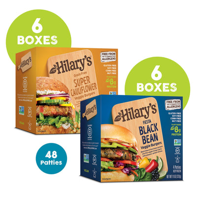 Protein Pack - Get 6 boxes of Super Cauliflower + 6 boxes of Fiesta Black Bean (48 patties)