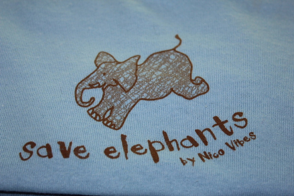 """Save Elephants"" Light Blue T-shirt"
