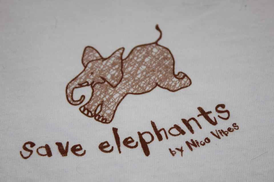 """Save Elephants"" White T-shirt"