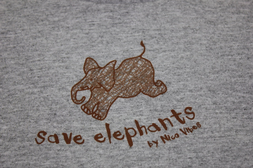"""Save Elephants"" Heather Grey T-shirt"