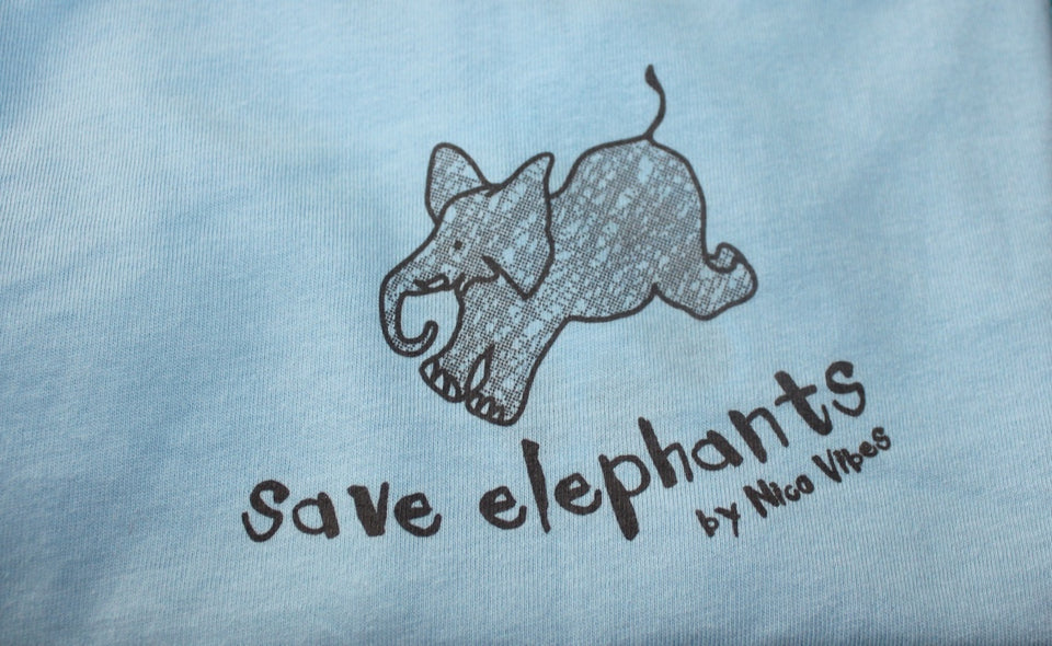 """Save Elephants"" Light Blue T-shirt (Grey Elephant Design)"