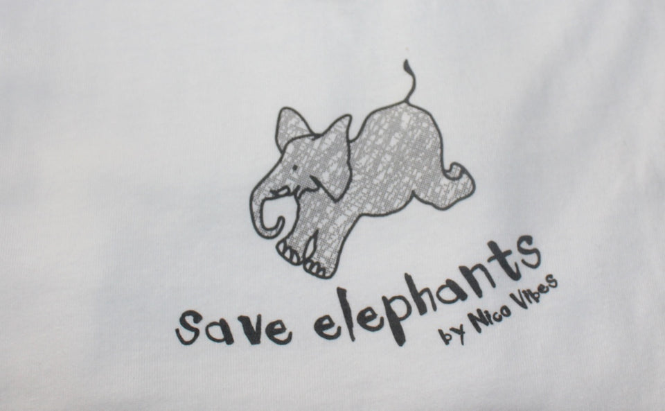 """Save Elephants"" White T-Shirt (Grey Elephant Design)"