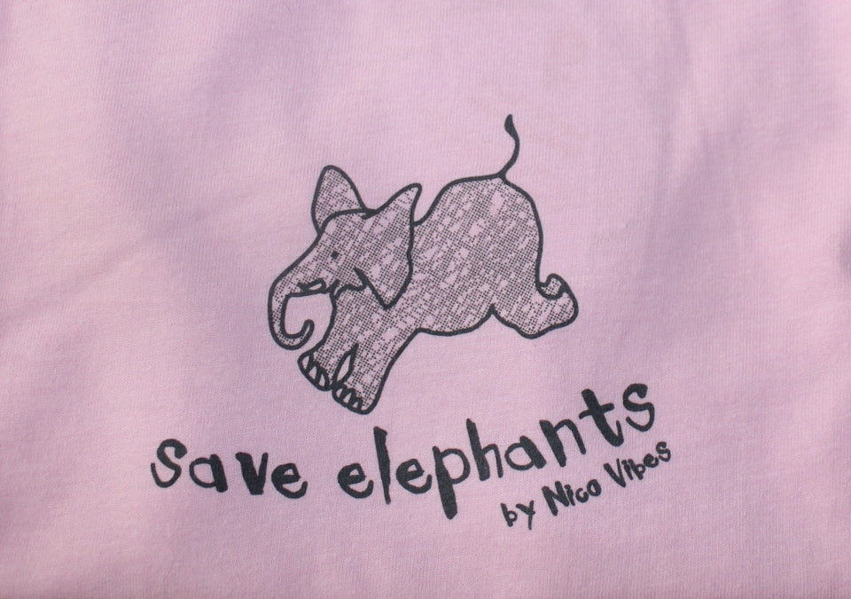 """Save Elephants"" Pink T-shirt (Grey Elephant Design)"