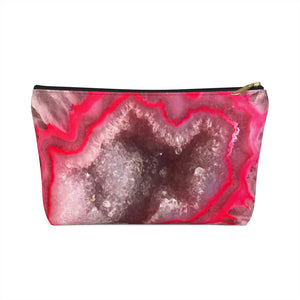 Cute Pink Agate Print Accessory Pouch w T-bottom