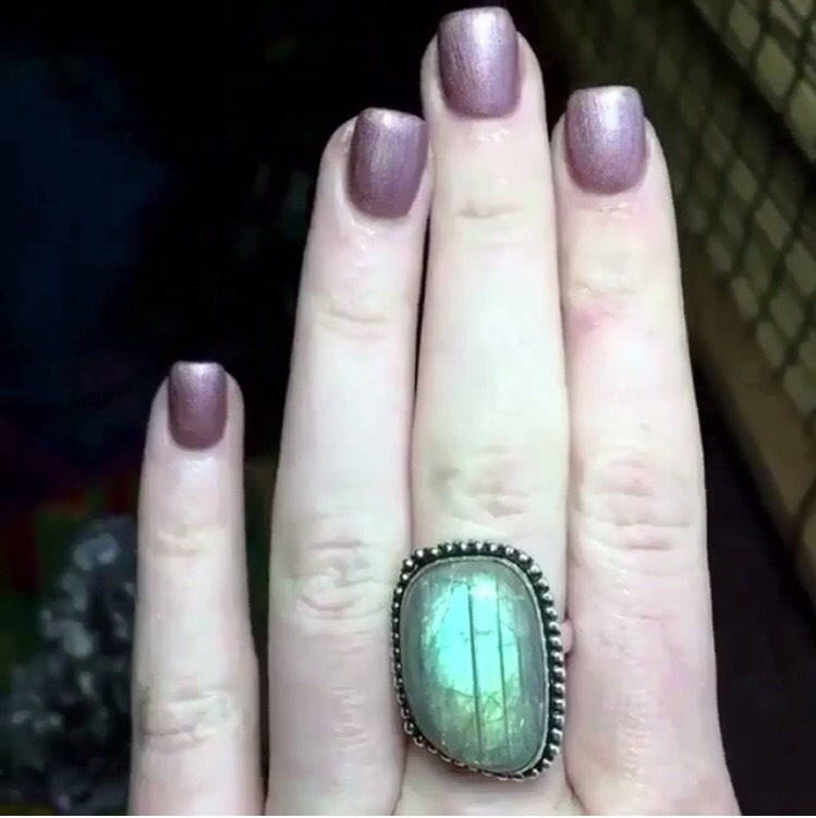 925 Stamped Rainbow Labradorite Ring, Size 8.5 - The Whimsy Crystal Shop