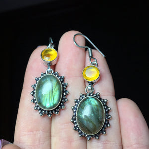 925 Stamped Rainbow Labradorite & Citrine Earrings - The Whimsy Crystal Shop