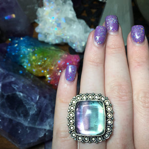 925 Stamped Fluorite Statement Ring, Size 7 - The Whimsy Crystal Shop