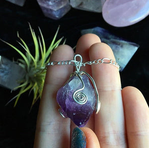 Amethyst Swirl Necklace - The Whimsy Crystal Shop