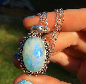 Rainbow Blue Moonstone Necklace(18inches) - The Whimsy Crystal Shop