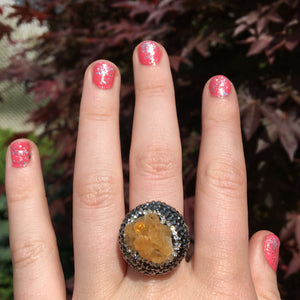Citrine Cluster Marcasite Adjustable Ring, will fit size 7.5-10 - The Whimsy Crystal Shop
