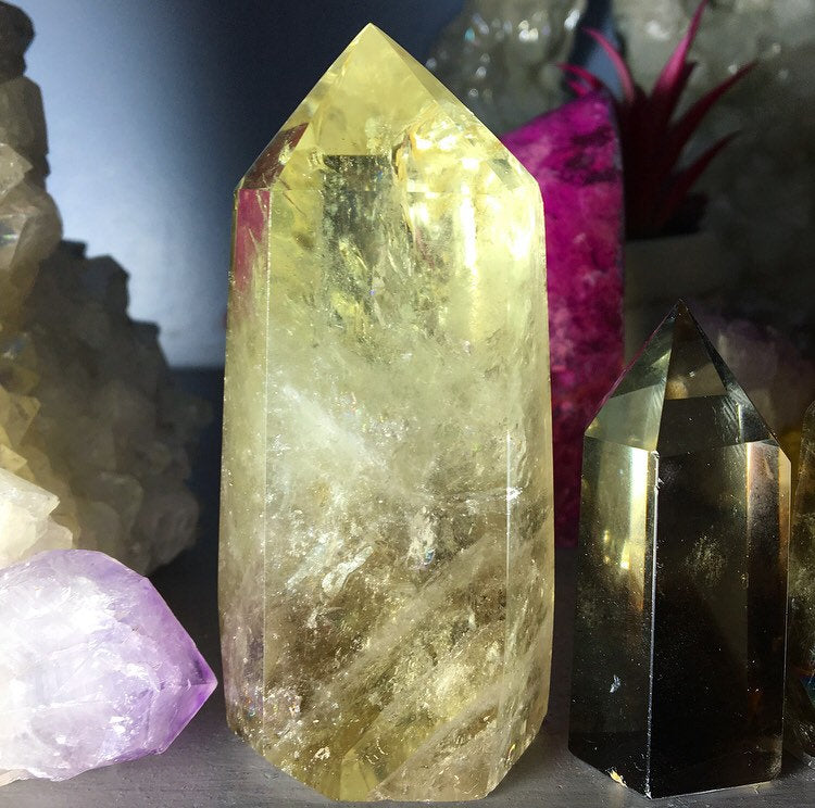 Large Citrine with Rainbow Inclusions Standing Wand 4in tall - The Whimsy Crystal Shop