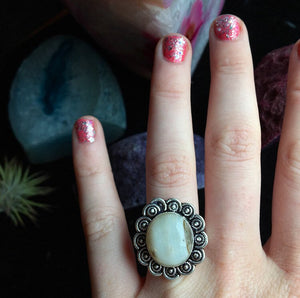 925 Stamped Natural Agate Ring, Size 9.5 - The Whimsy Crystal Shop