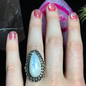 Rainbow Moonstone Ring, Size 7.5 (925 Stamped) - The Whimsy Crystal Shop
