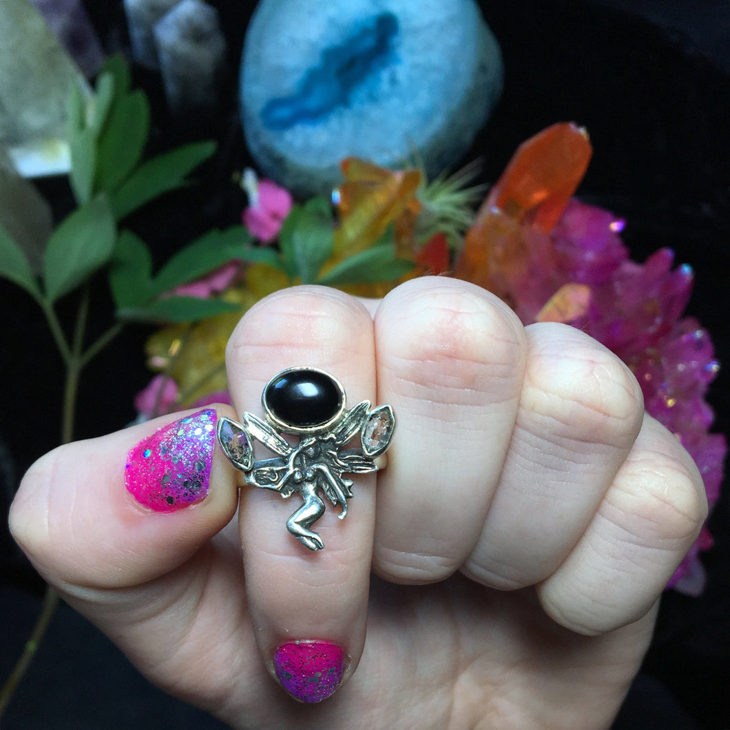 Sterling Silver Onyx and Herkimer Diamond Fairy Ring, Size 7(925 Stamped) - The Whimsy Crystal Shop