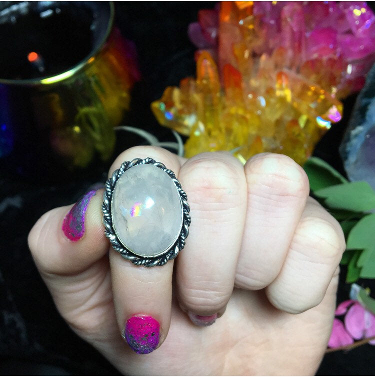 Rainbow Rose Quartz Ring, Size 8.5 (925 Stamped) - The Whimsy Crystal Shop