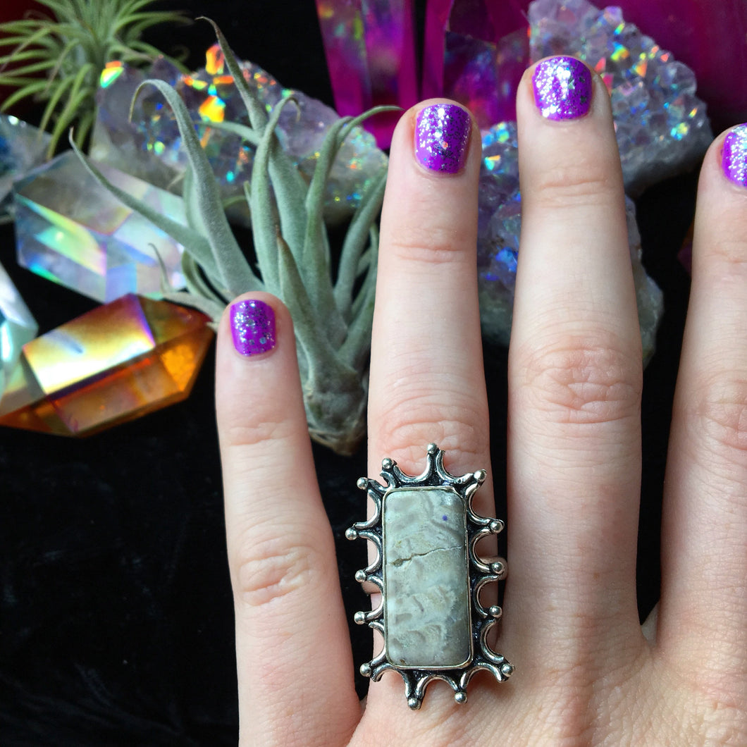 Ocean Jasper Ring, Size 7.5 (925 Stamped) - The Whimsy Crystal Shop