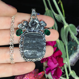 Black Tourmaline & Emerald Flora Necklace(925 Stamped) - The Whimsy Crystal Shop