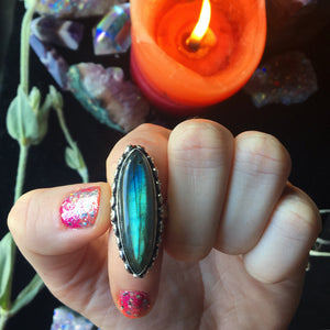 Rainbow Labradorite Ring size 5.5(925 Stamped) - The Whimsy Crystal Shop