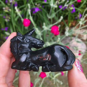 Detailed Hand Carved Black & Red Jasper Unicorn Collectible - The Whimsy Crystal Shop
