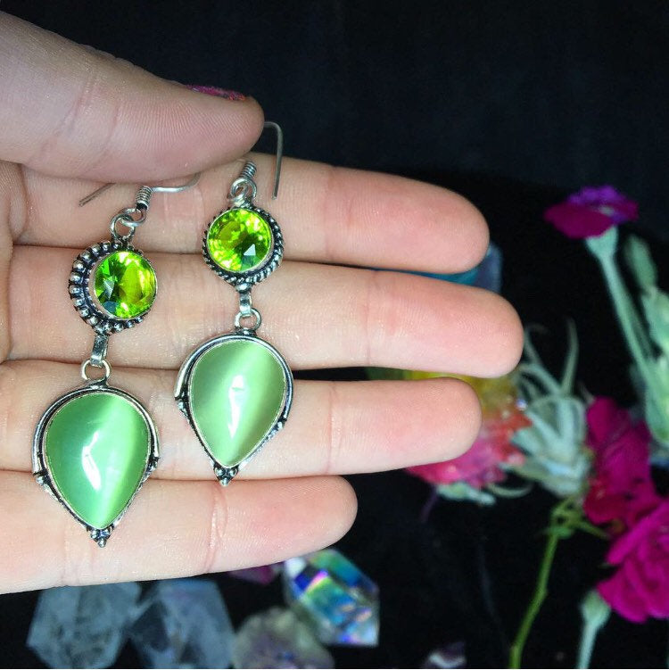 Green Cats Eye and Peridot Earrings (925 Stamped) - The Whimsy Crystal Shop