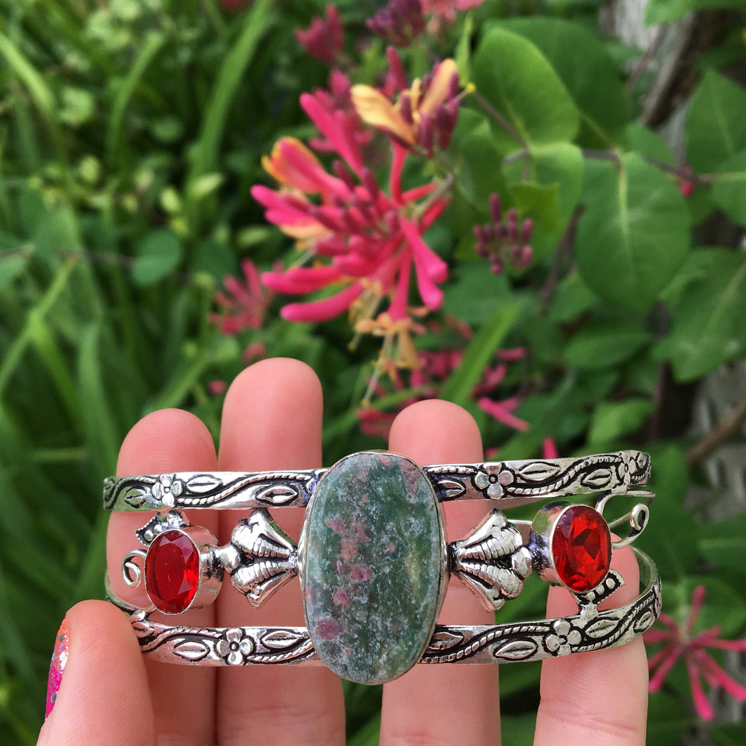 Ruby in Fuchsite and Ruby Cuff Bracelet (925 Stamped) - The Whimsy Crystal Shop