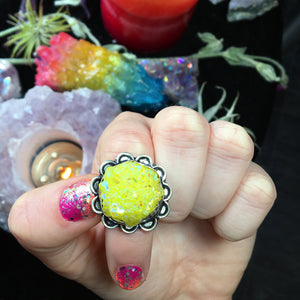 Yellow Cosmic Druzy Aura Quartz Ring, Size 6.5 (925 Stamped) - The Whimsy Crystal Shop