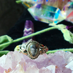 Sterling Silver Black Tourmaline Quartz Ring, Size 7.5(925 Stamped) - The Whimsy Crystal Shop