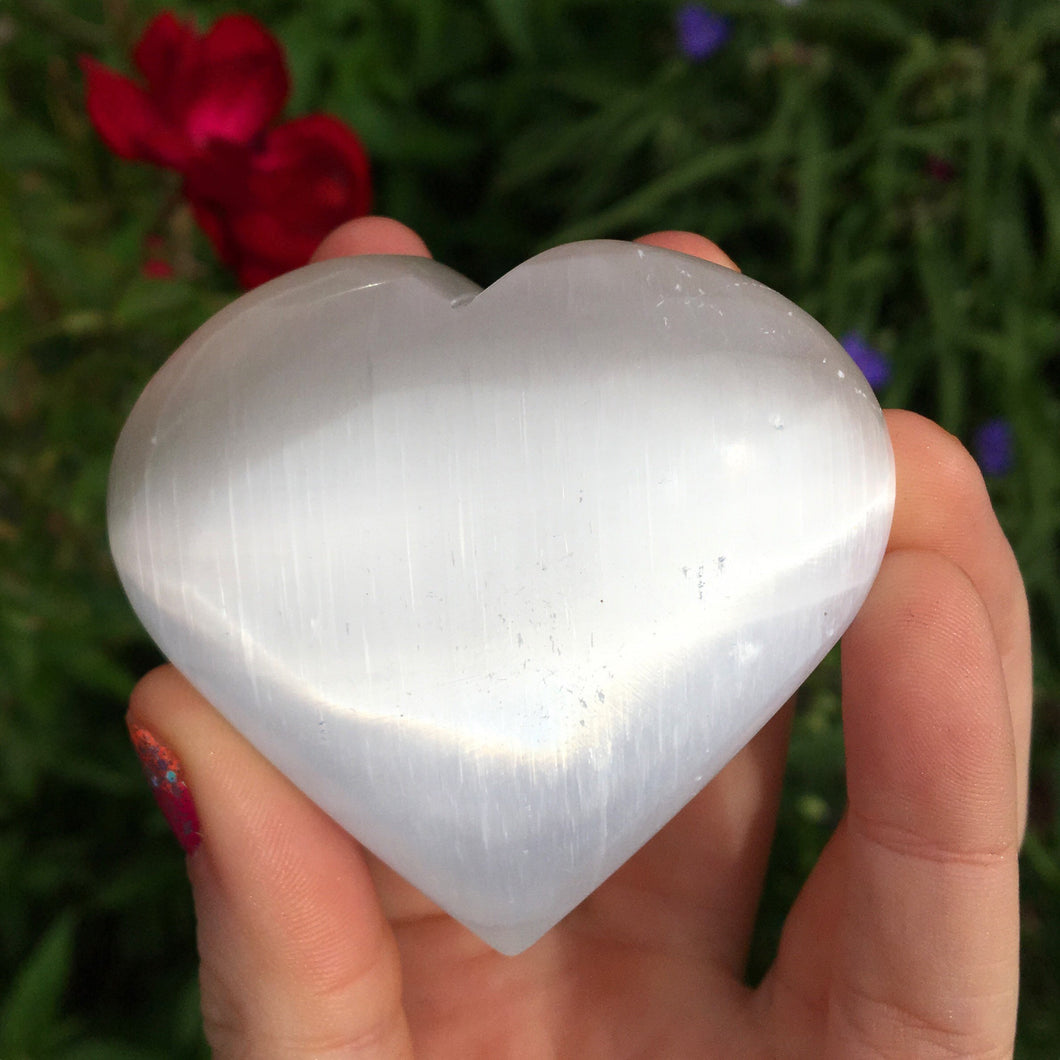 Selenite Heart Palmstone - The Whimsy Crystal Shop