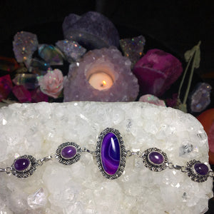 Purple Agate and amethyst bracelet (925 stamped) - The Whimsy Crystal Shop