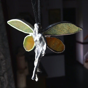 Stained Glass Hanging Fairy Decoration - The Whimsy Crystal Shop