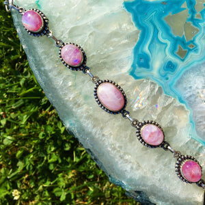 Rainbow Pink Moonstone Bracelet (925 stamped) - The Whimsy Crystal Shop