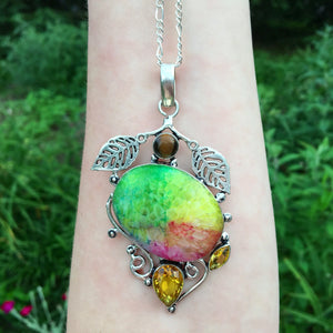Rainbow Solar Quartz, Citrine and Tigers Eye Necklace (925 Stamped) - The Whimsy Crystal Shop