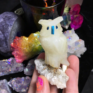 Soapstone Carved owl on Quartz Base - The Whimsy Crystal Shop