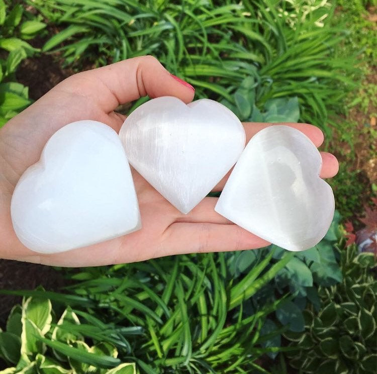 Selenite Puffy Heart Palmstone (One) - The Whimsy Crystal Shop