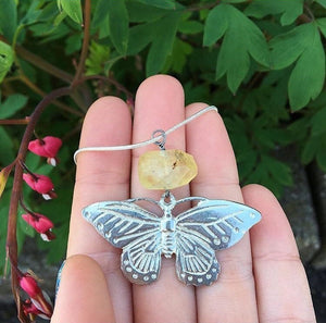 Prehnite Butterfly Necklace - The Whimsy Crystal Shop