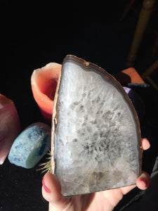 2lb Agate Natural White Agate Standing Crystal - The Whimsy Crystal Shop