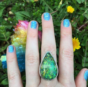 Green Sparkle Dichroic Glass Ring, Size 7.5 (925 Stamped) - The Whimsy Crystal Shop
