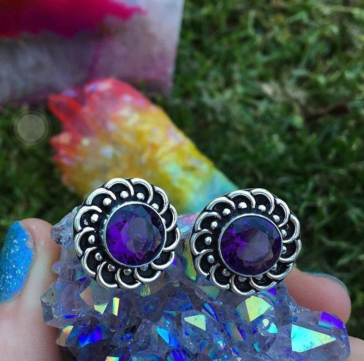 Amethyst Studs(925 Stamped) - The Whimsy Crystal Shop