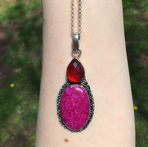 Pink Fossil Coral and Ruby Necklace (925 Stamped) - The Whimsy Crystal Shop