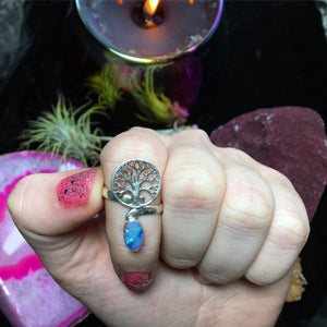 Sterling Silver Blue Fire Opal Tree of Life Ring, Size 7.5 (925 Stamped) - The Whimsy Crystal Shop