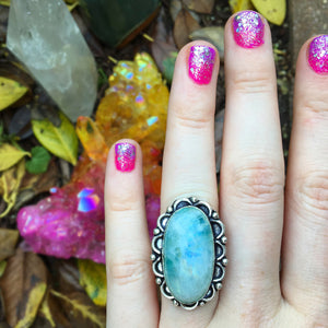 Blue Rainbow Moonstone Ring, Size 7.5(925 Stamped) - The Whimsy Crystal Shop