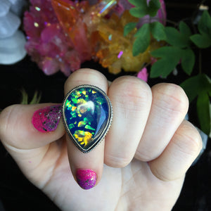 Blue Dichroic Glass Sparkle Ring, Size 6.5(925 Stamped) - The Whimsy Crystal Shop