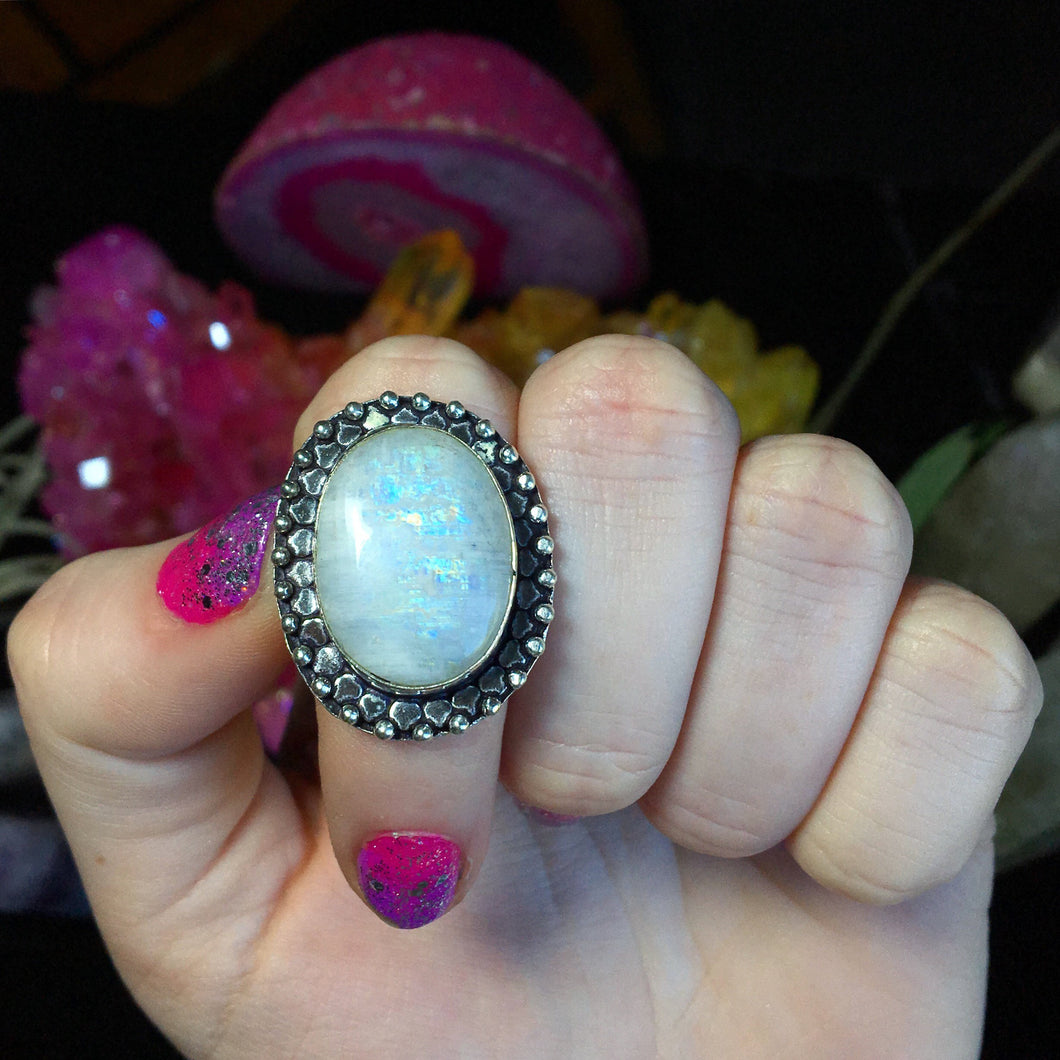 Rainbow Moonstone Ring Size 6.5 (925 Stamped) - The Whimsy Crystal Shop