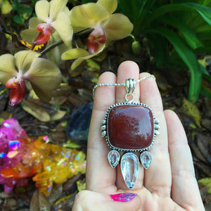 Red Jasper & Quartz Necklace (925 Stamped) - The Whimsy Crystal Shop