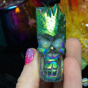 Carved Apple Aura Quartz Skull Cluster - The Whimsy Crystal Shop