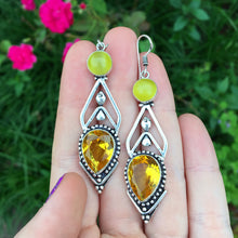 Citrine and Yellow Cats Eye Earrings (925 Stamped) - The Whimsy Crystal Shop