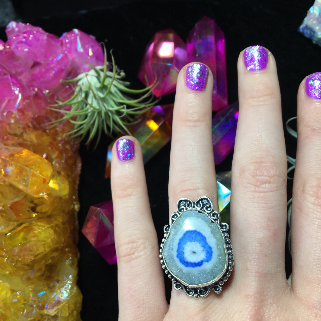 Blue Solar Quartz Ring, Size 8(925 Stamped) - The Whimsy Crystal Shop