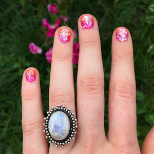 Rainbow Moonstone Ring size 7.5(925 Stamped) - The Whimsy Crystal Shop