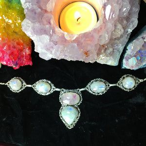 Pink Rainbow Moonstone Multistone Necklace (925 Stamped) - The Whimsy Crystal Shop